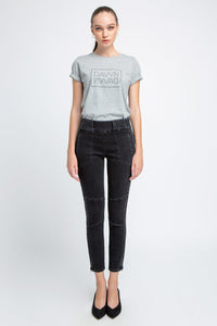 SUN UP - Skinny, Biker, Organic Powerstretch Denim, Black